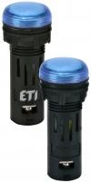 Лампа сигнал. LED матовая ECLI-16-240A-B 240V AC (?16мм, синяя) арт. 004771610