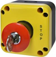 "Кнопочный пост 1-модул. ESB1Y-V9 (Standart, ""STOP"" гриб.типа, с ключом, красн., корп. желто-черн.) арт. 004771625"