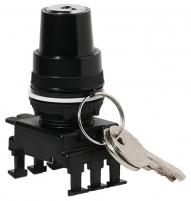 Переключатель поворотн. 2-х поз. с ключом HR85C3, с фикс. 0-1, 60°, (черн.) арт.004770106