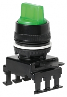 Переключатель поворотн. 2-х поз. HK66C2 с подсв. с фикс 0-1, 30° (зеленый) арт.004770161