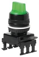Переключатель поворотн. 3-х поз. HL66C2 с подсв. с фикс 1-0-2, 30° (зел.) арт.004770165