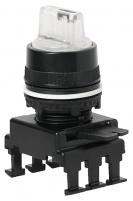 Переключатель поворотн. 3-х поз. HM66C8 с подсв. б/ф сл. 1-0-2, 30° (б/цв) арт.004770183