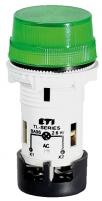 Лампа сигнальная матовая TL02X1 240V AC (зеленая) арт.004770246